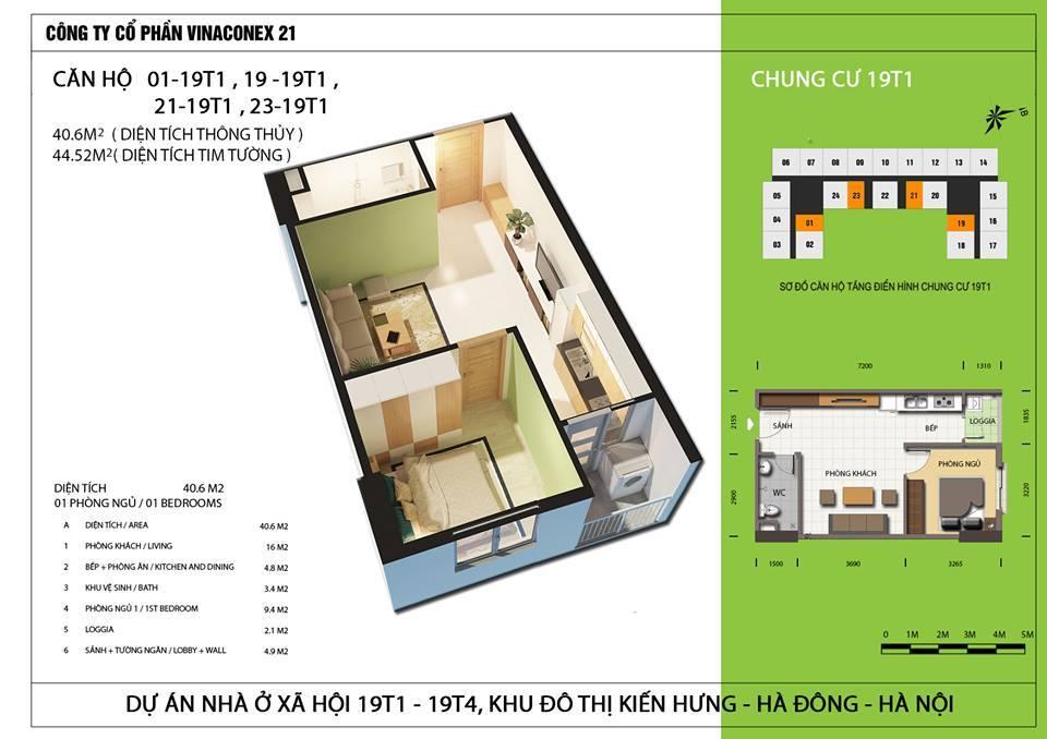 Căn hộ diện tích 40,6 m2 - Thiết kế 1 ngủ 1 wc.