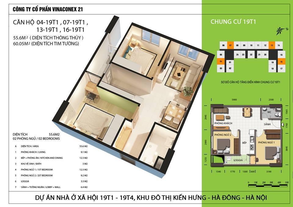 Căn hộ diện tích 55,6 m2 - Thiết kế 2 ngủ 1 wc.