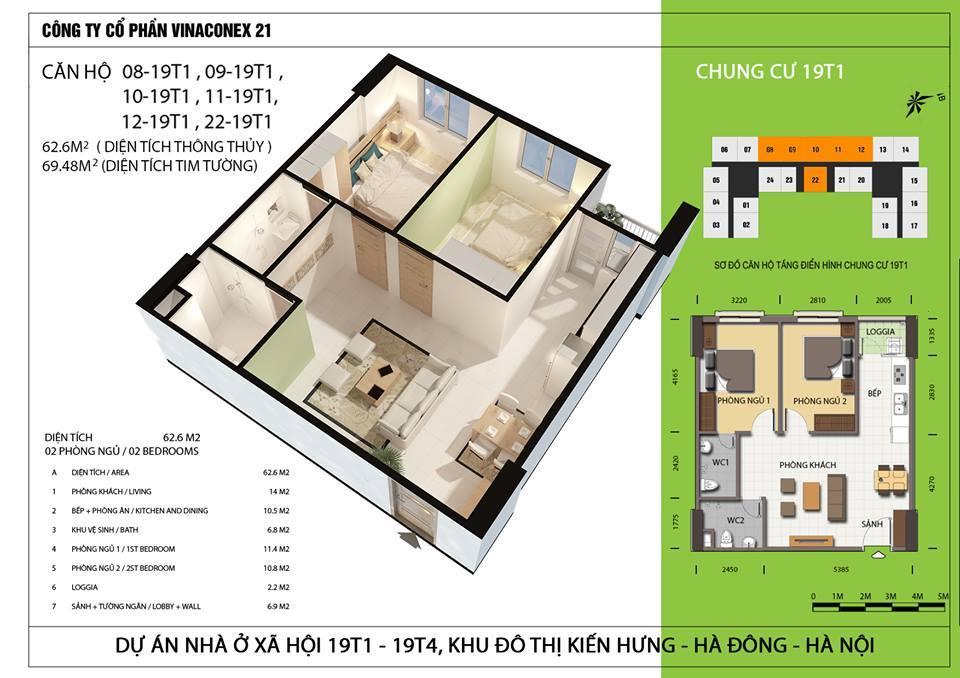 Căn hộ diện tích 62,6 m2 - Thiết kế 2 phòng ngủ, 2 wc.