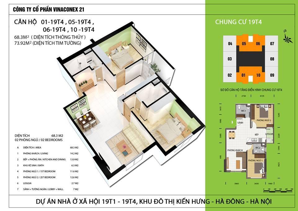 Căn hộ diện tích 68,3 m2 - Thiết kế 2 phòng ngủ, 2 wc.