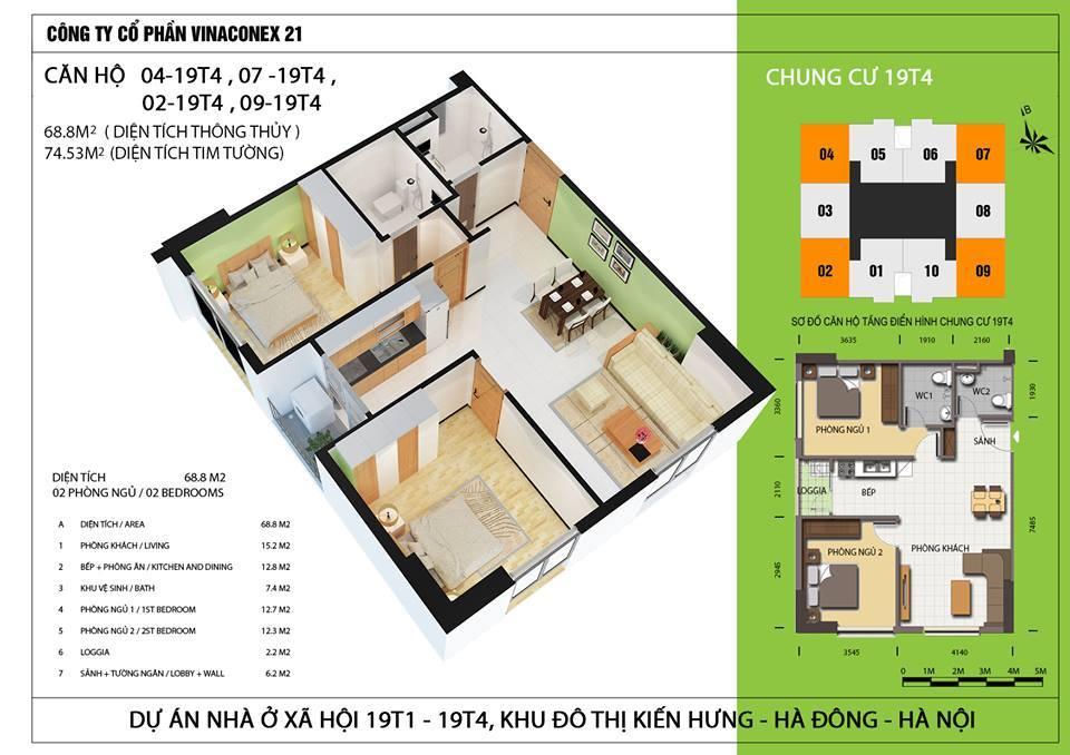 Căn hộ diện tích 68,8 m2 - Thiết kế 2 phòng ngủ, 2 wc - Căn hộ góc 2 mặt thoáng