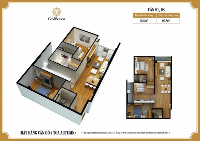 Diện tích 96 m2. Căn hộ 01; 08