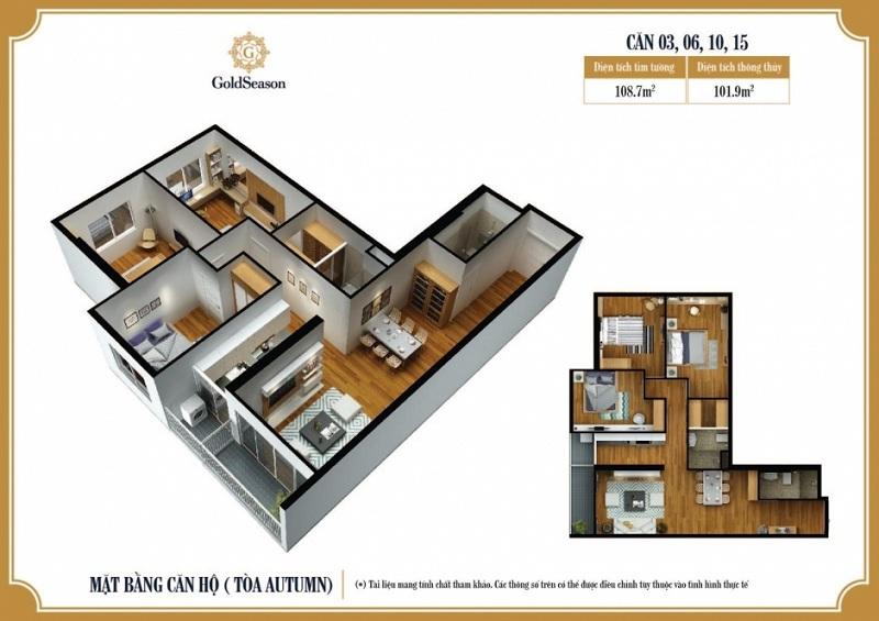 Diện tích 108 m2. Căn hộ 03; 06; 10; 15
