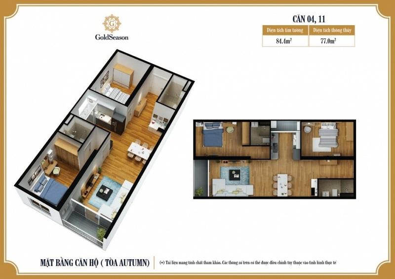 Diện tích 84 m2. Căn hộ 04; 11