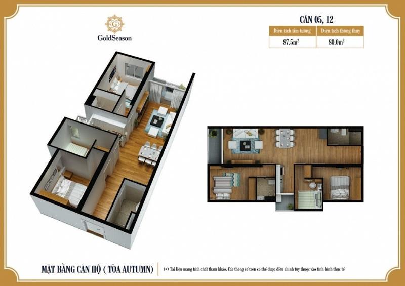 Diện tích 87 m2. Căn hộ 05; 12