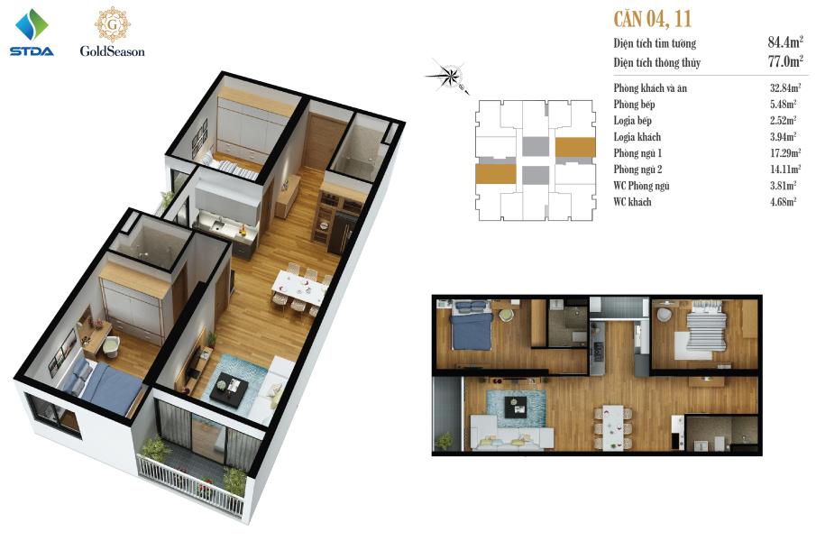 Căn 84 m2: Căn Số 4, 11