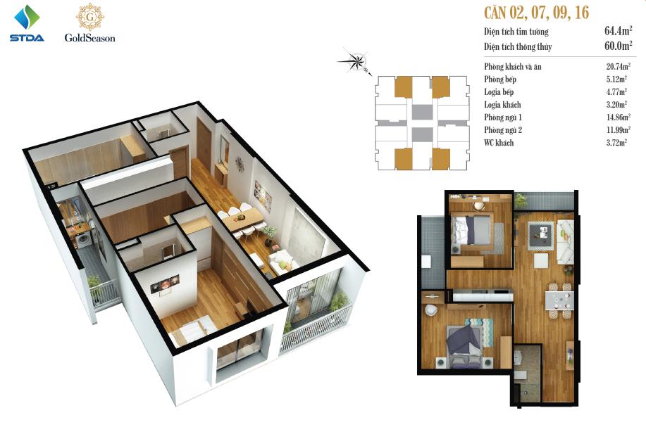 Căn 64 m2: Căn Số 2, 7, 9, 16