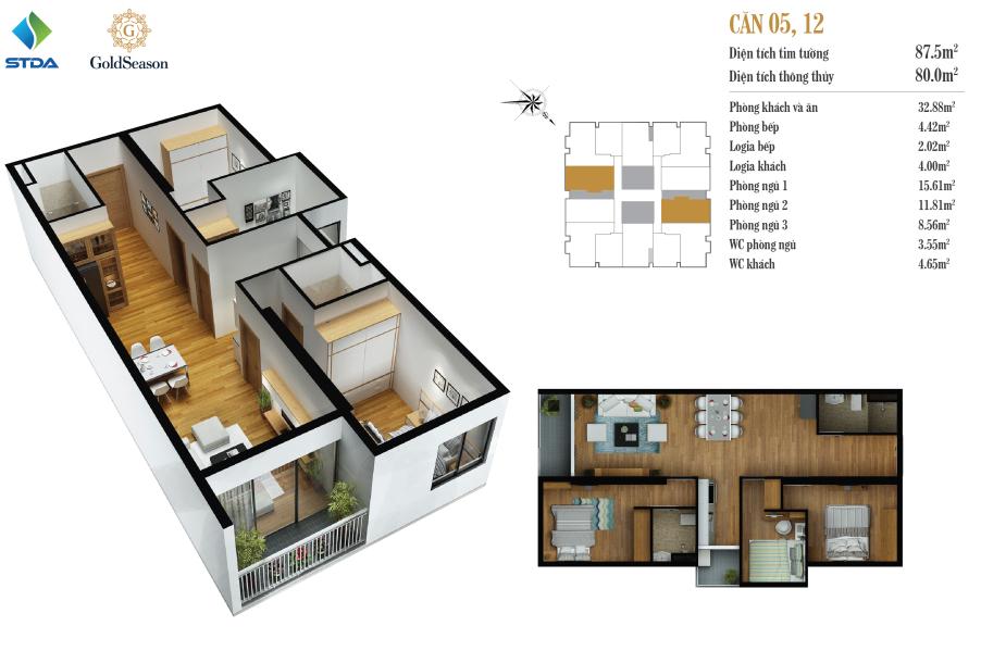 Căn 87 m2: Căn số: 5, 12
