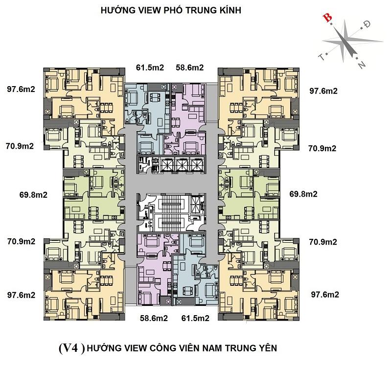 Mặt bằng tòa V4 chung cư Home City Nguyễn Chánh