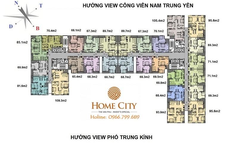 Mặt bằng tổng thể tòa V1, V3 Home City Trung Kính