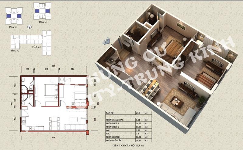 Mặt bằng căn hộ diện tích 69,8 m2 tòa V1, V4