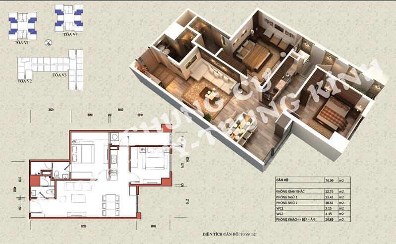 Mặt bằng căn hộ diện tích 70,99 m2 tòa V1, V4