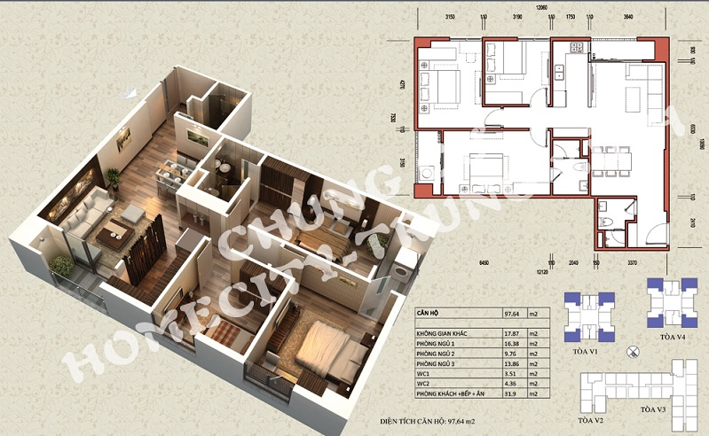 Mặt bằng căn hộ diện tích 97,64 m2 tòa V1, V4