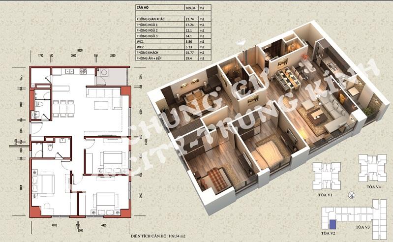 Mặt bằng căn hộ diện tích 109,34 m2 tòa V1, V3 Home City Trung Kính