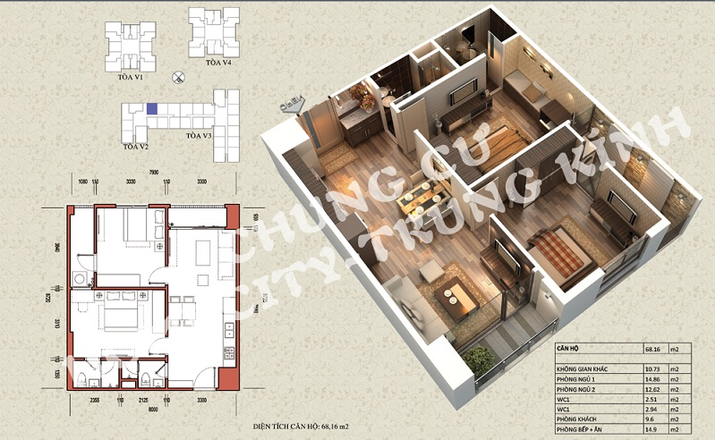 Mặt bằng căn hộ diện tích 68,16 m2 tòa V1, V3