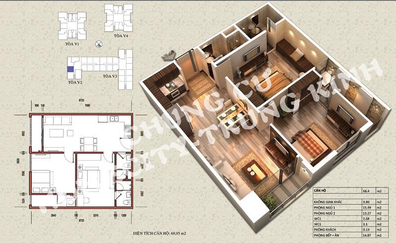 Mặt bằng căn hộ diện tích 69,95 m2 tòa V1, V3