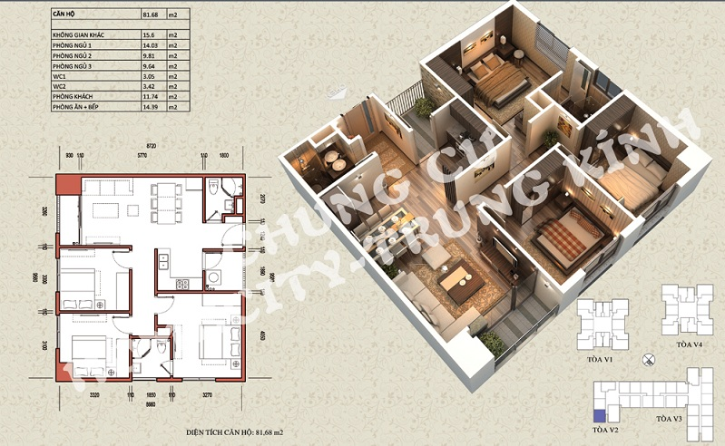 Mặt bằng căn hộ diện tích 81,68 m2 tòa V1, V3