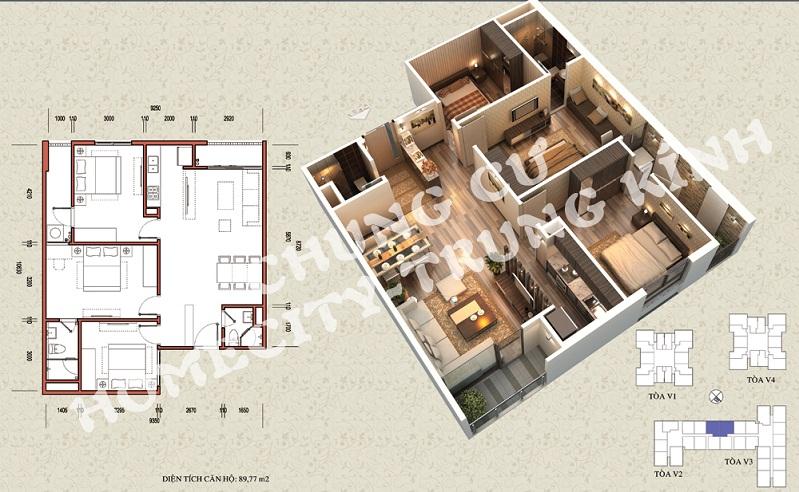 Mặt bằng căn hộ diện tích 89,77 m2 tòa V1, V3