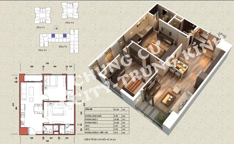 Mặt bằng căn hộ diện tích 67,36 m2 tòa V1, V3