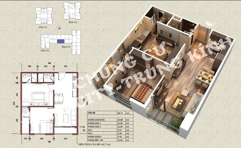 Mặt bằng căn hộ diện tích 68,77 m2 tòa V1, V3 Home City Trung Kính