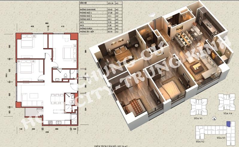 Mặt bằng căn hộ diện tích 105,24 m2 tòa V1, V3