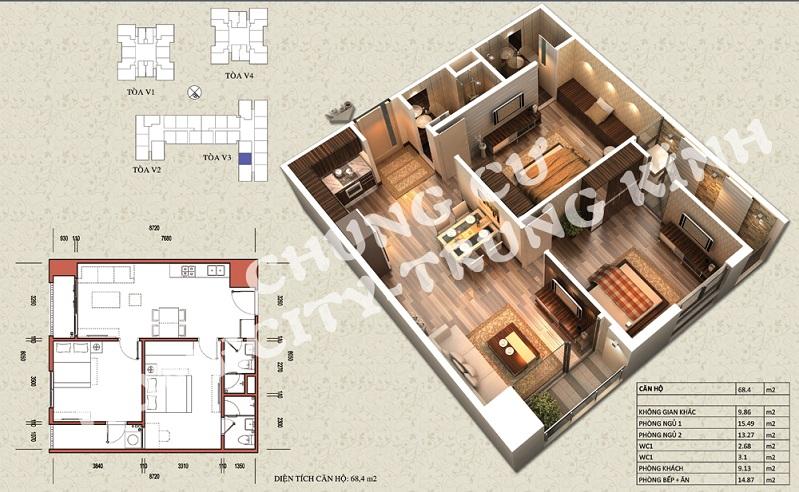Mặt bằng căn hộ diện tích 68,4 m2 tòa V1, V3 Home City Trung Kính