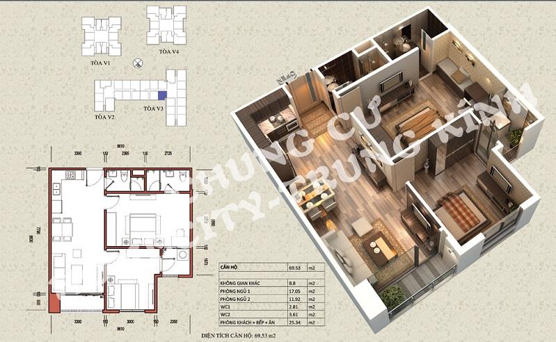 Mặt bằng căn hộ diện tích 69,53 m2 tòa V1, V3 Home City Trung Kính
