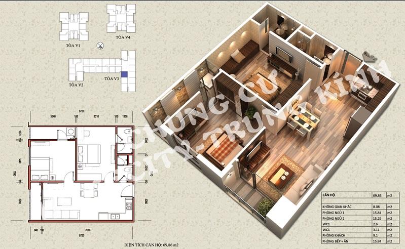 Mặt bằng căn hộ diện tích 69,86 m2 tòa V1, V3