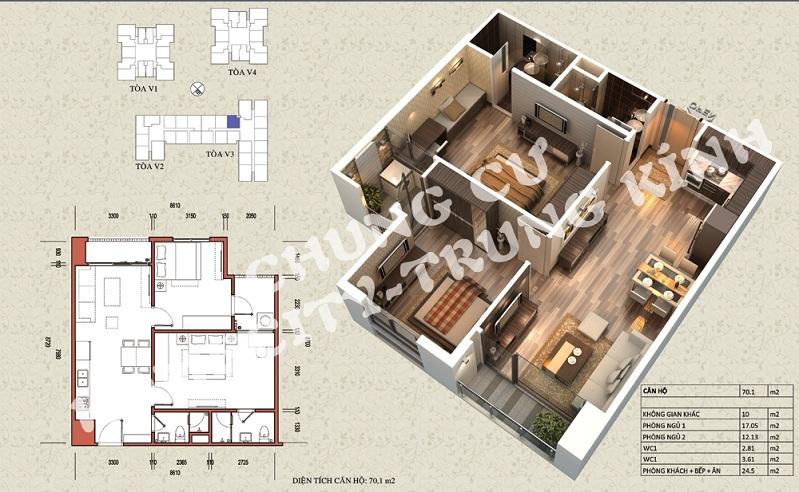 Mặt bằng căn hộ diện tích 70,1 m2 tòa V1, V3