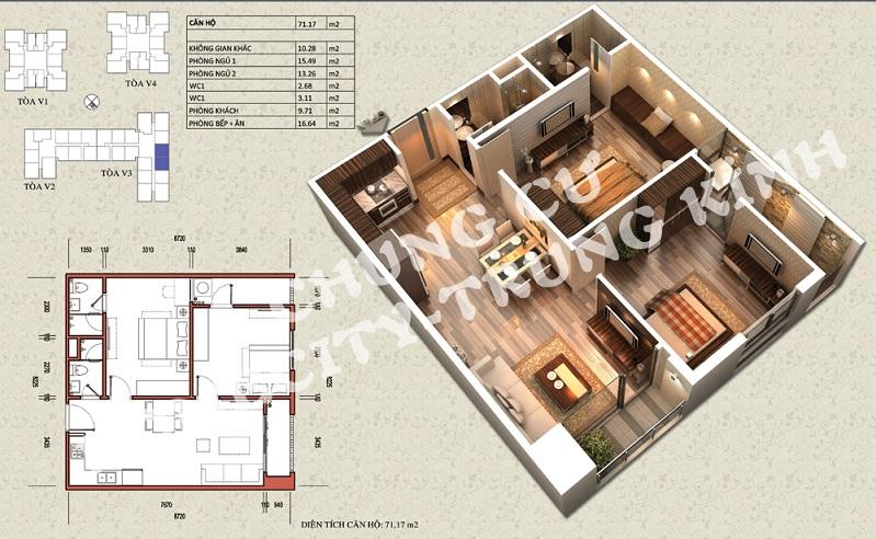 Mặt bằng căn hộ diện tích 71,17 m2 tòa V1, V3