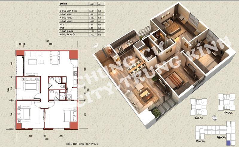 Mặt bằng căn hộ diện tích 93,98 m2 tòa V1, V3