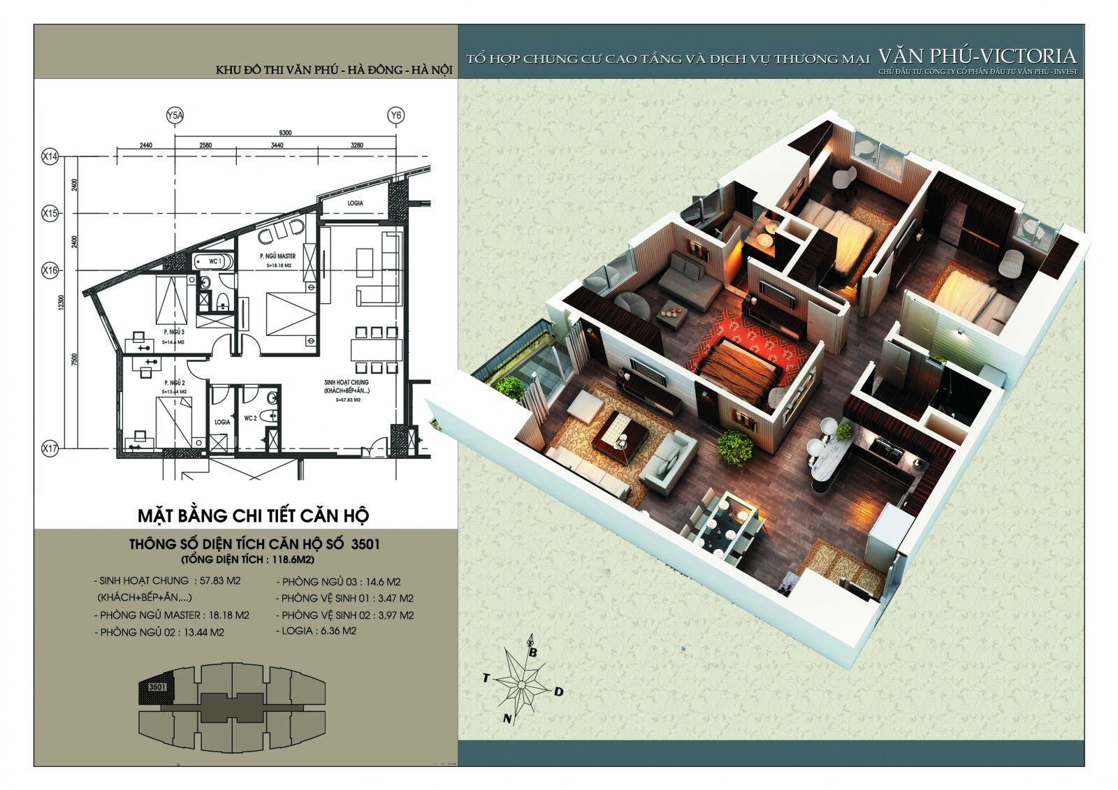 Căn 118,6 m2 - Văn Phú Victoria