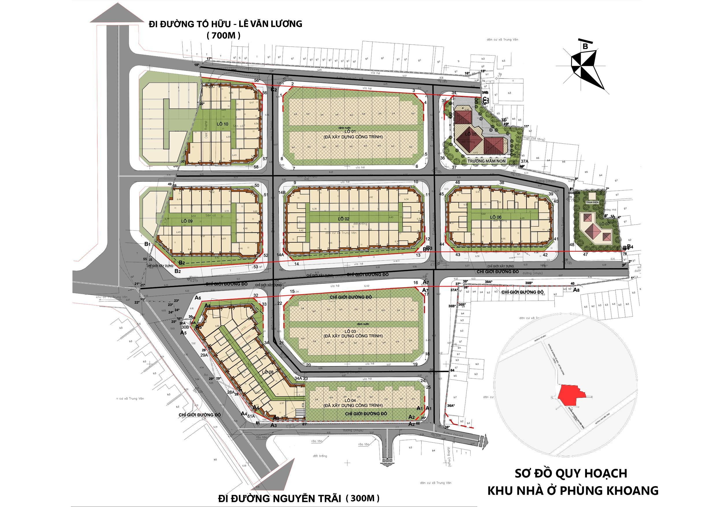 Sơ đồ quy hoạch khu nhà ở Phùng Khoang