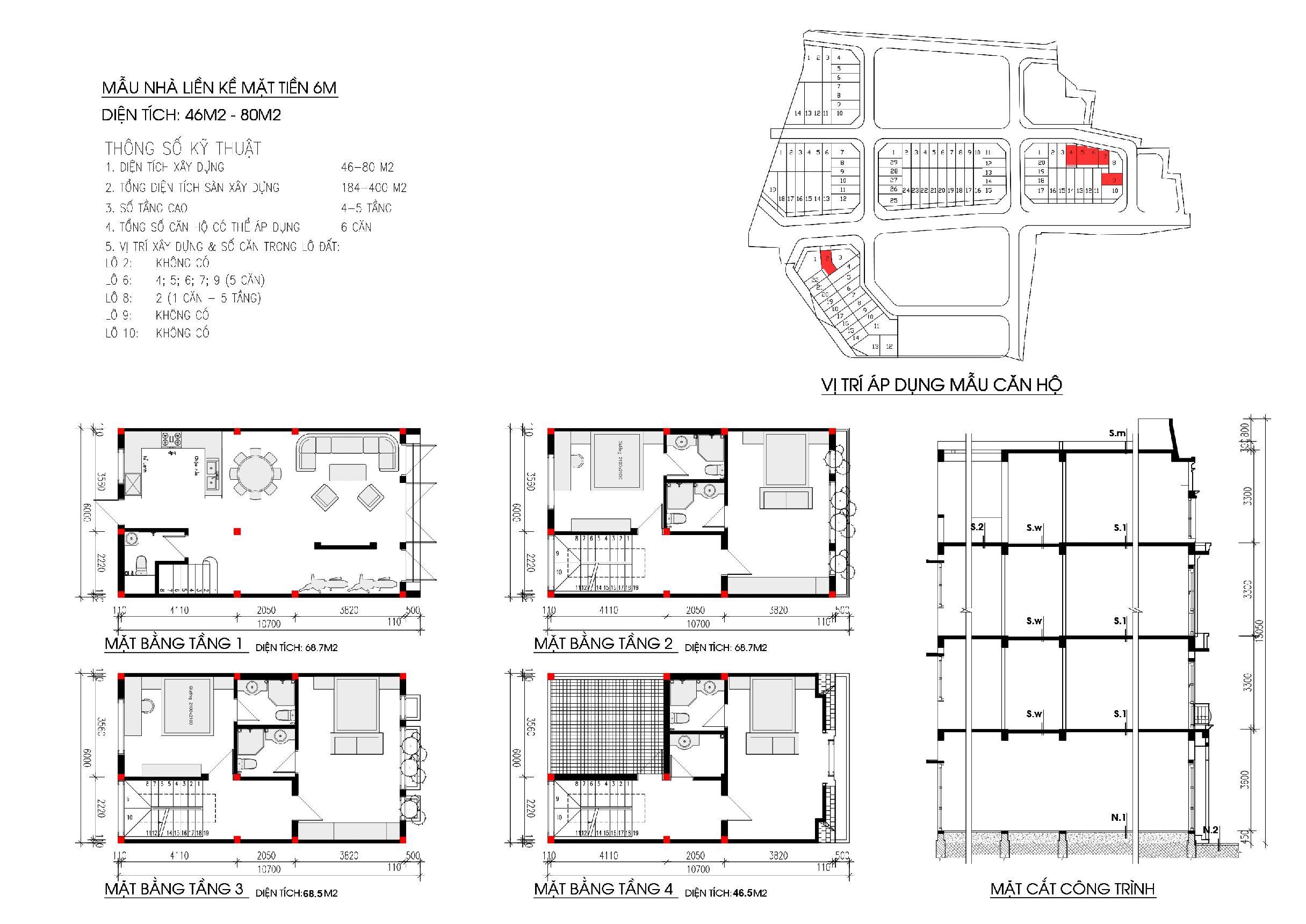 Thiết kế diện tích 46 - 80 m2 liền kề Nam Thắng