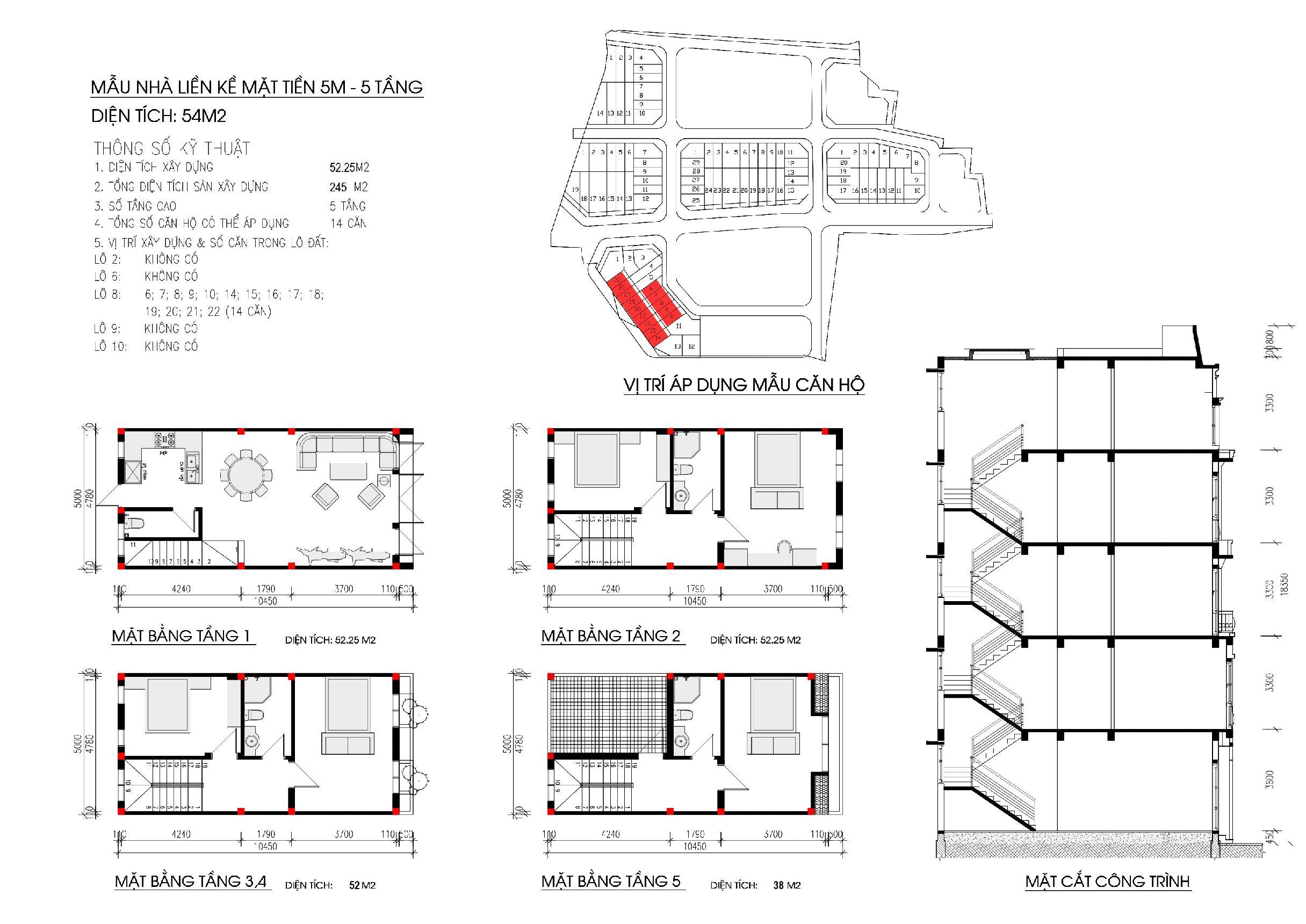 Thiết kế diện tích 54 m2 liền kề Nam Thắng