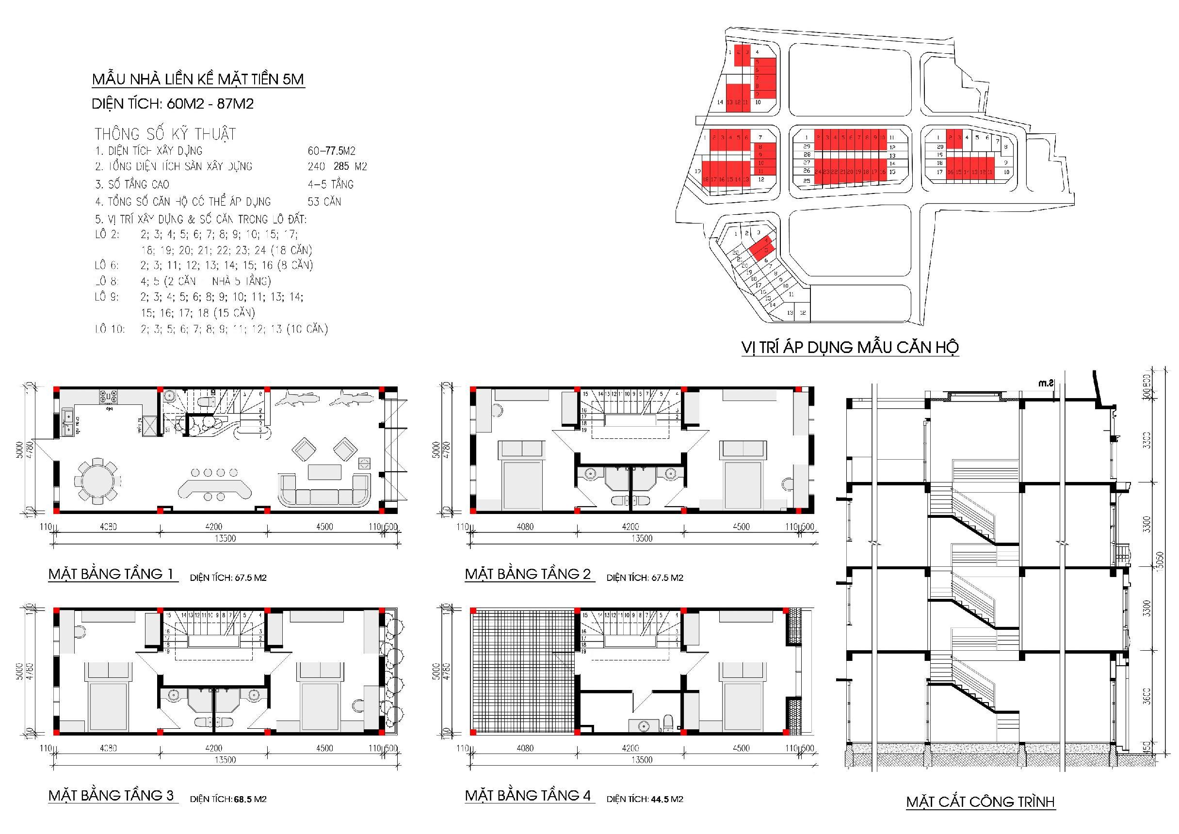 Thiết kế diện tích 60-87m2 khu nhà ở Phùng Khoang