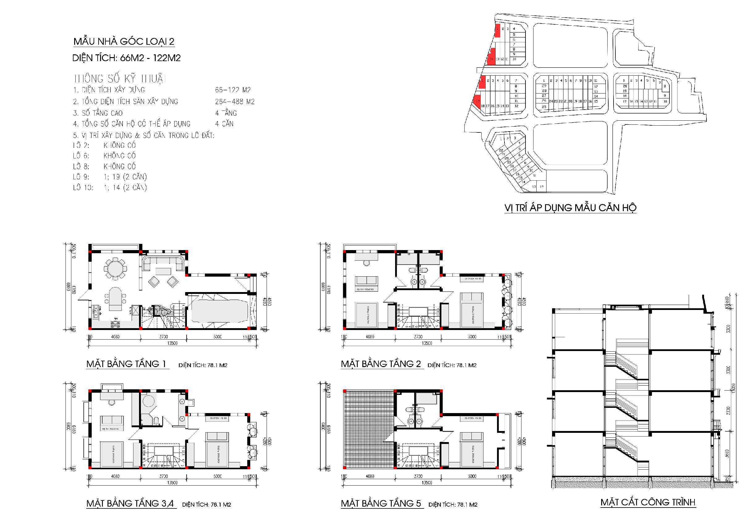 Thiết kế diện tích 66-122m2 khu nhà ở Phùng Khoang