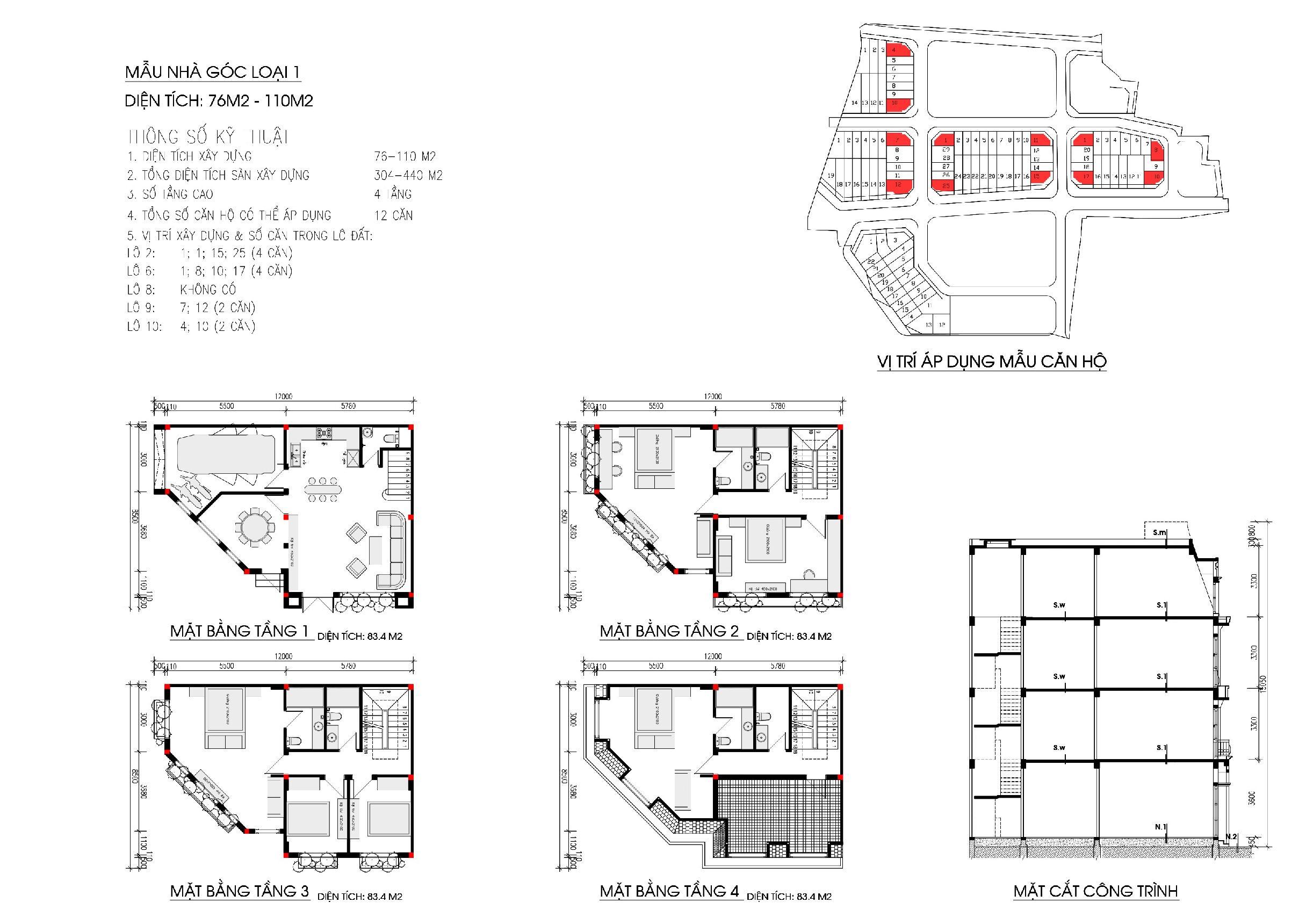 Thiết kế liền kề phùng khoangdiện tích 76 - 110 m2