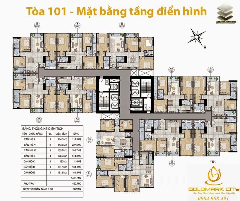 Mặt bằng điển hình Tòa 101 Block A Goldmark City Hồ Tùng Mậu