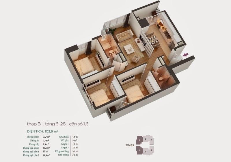 Mặt bằng căn hộ 1, 6 tầng 6-28