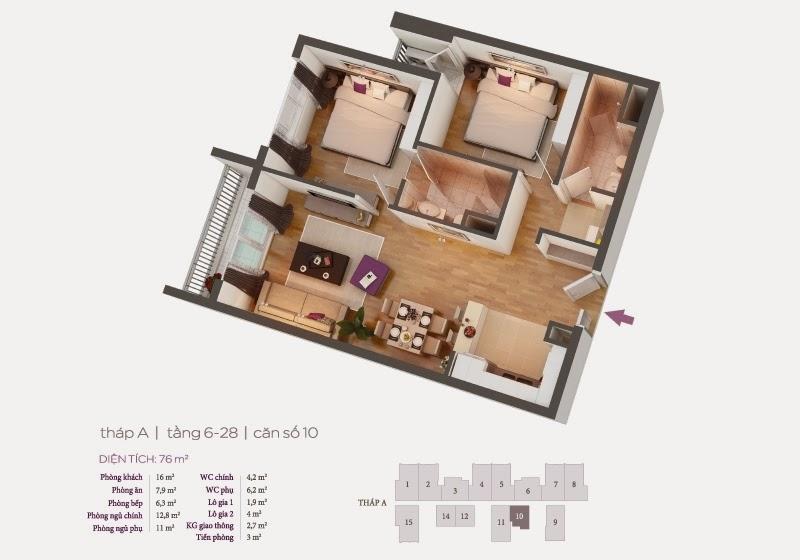 Mặt bằng căn hộ 10 tầng 6-28