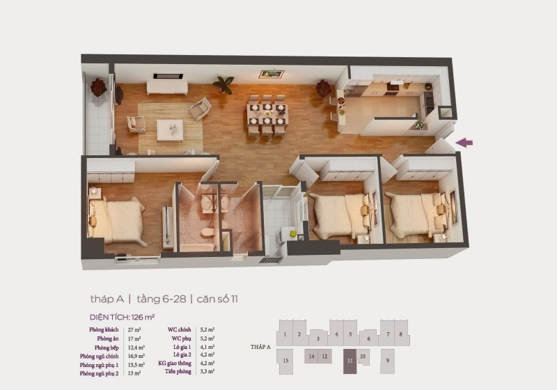 Mặt bằng căn hộ 11 tầng 6-28 chung cư Hồ Gươm Plaza