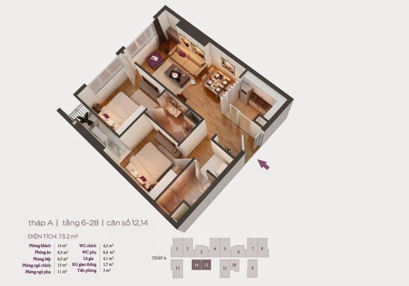 Mặt bằng căn hộ 12, 14 tầng 6-8 chung cư Hồ Gươm Plaza