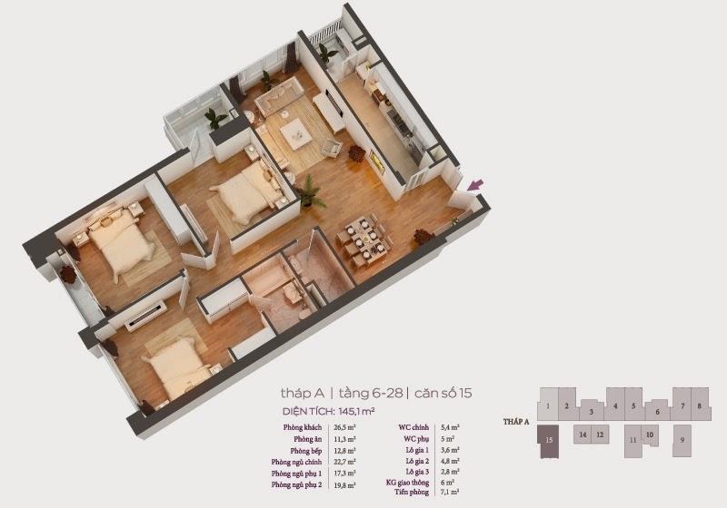 Mặt bằng căn hộ 15 tầng 6-28