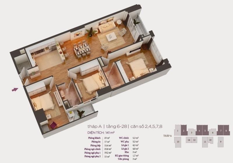 Mặt bằng căn hộ 2, 4, 5, 7, 8 tầng 6-28 chung cư Hồ Gươm Plaza