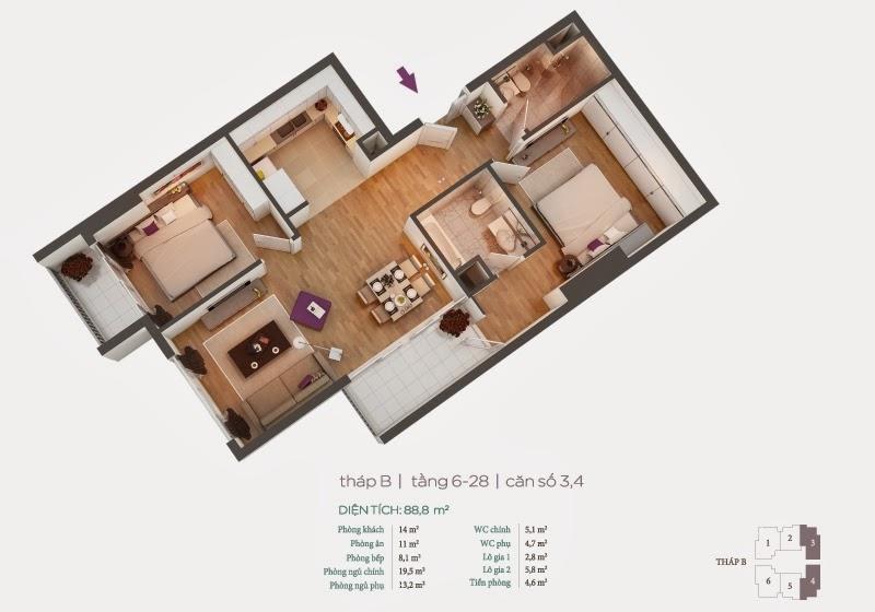 Mặt bằng căn hộ 3, 4 tầng 6-28
