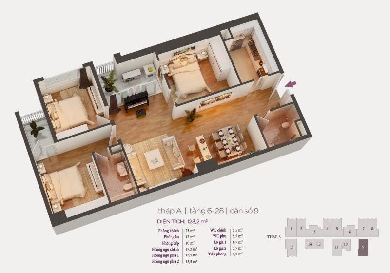 Mặt bằng căn hộ 9 tầng 6-28 chung cư Hồ Gươm Plaza
