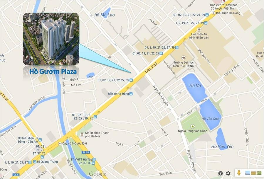 Vị trí dự án chung cư Hồ Gươm Plaza