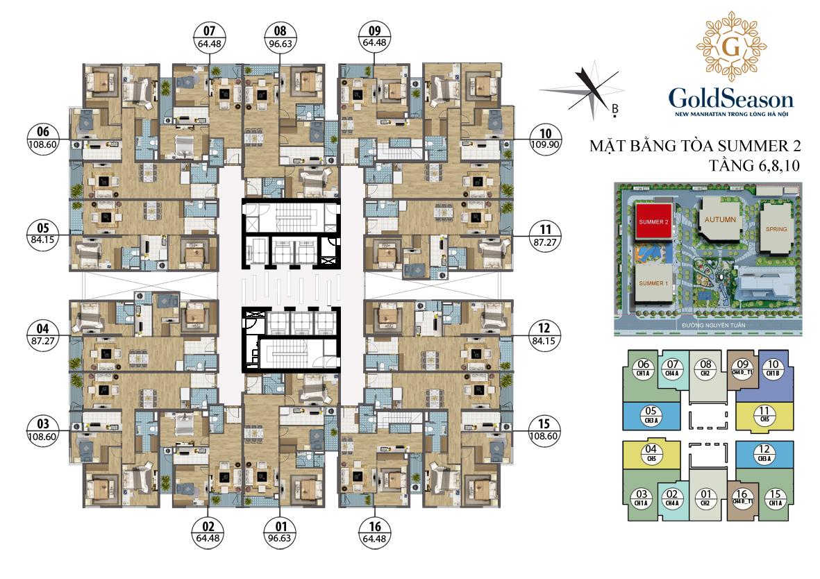 Mặt bằng tòa Summer 2 tầng 6,8,10
