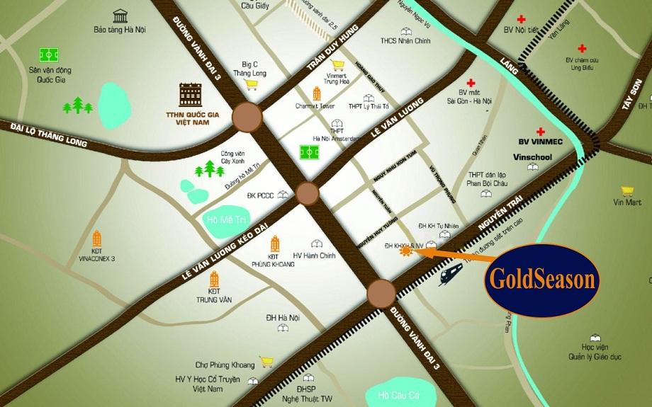 Vị trí dự án GoldSeason 47 Nguyễn Tuân